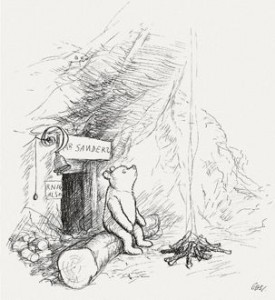 """Winnie-the-Pooh lived in a forest all by himself under the name of Sanders."""